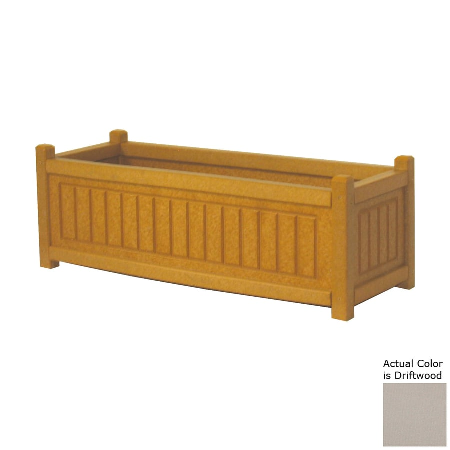 Eagle One 48-in x 12-in Driftwood Plastic Nantucket Raised Planter Box
