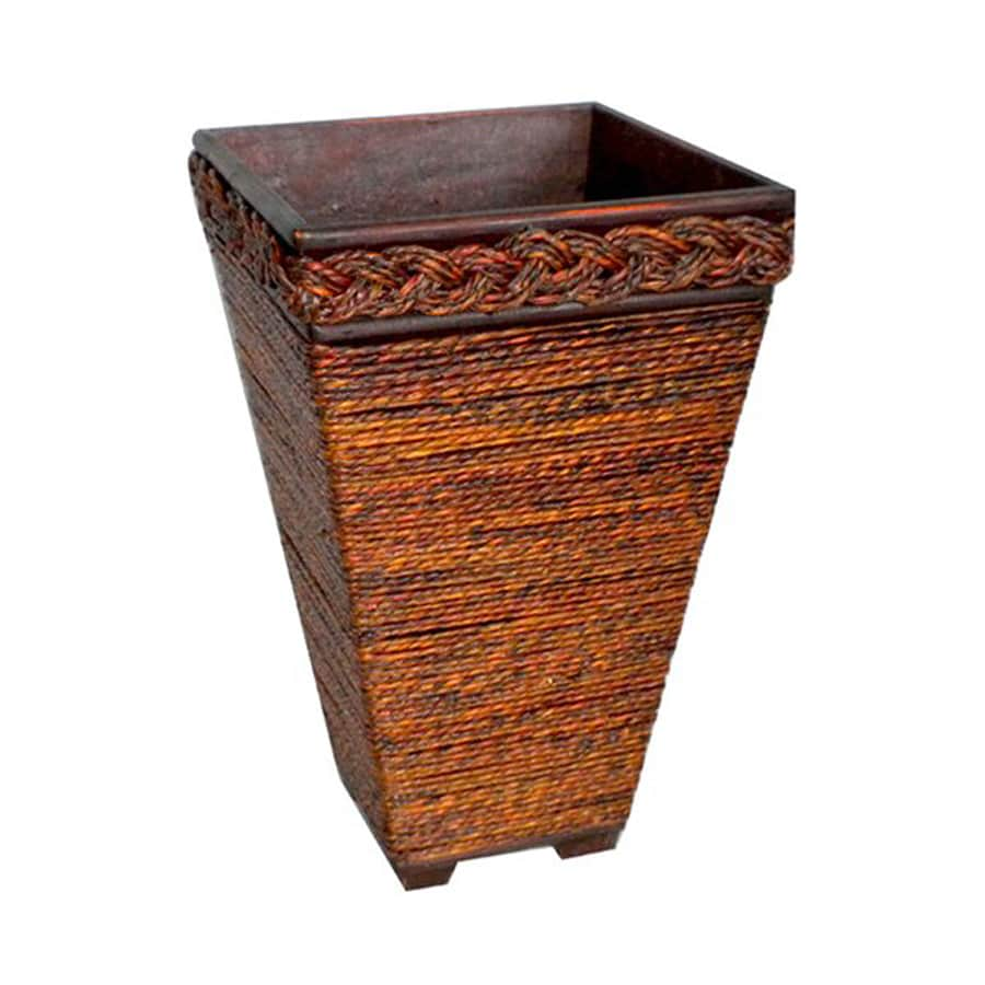 Cheung's 7.5-in x 12-in Brown Wood Rope Planter