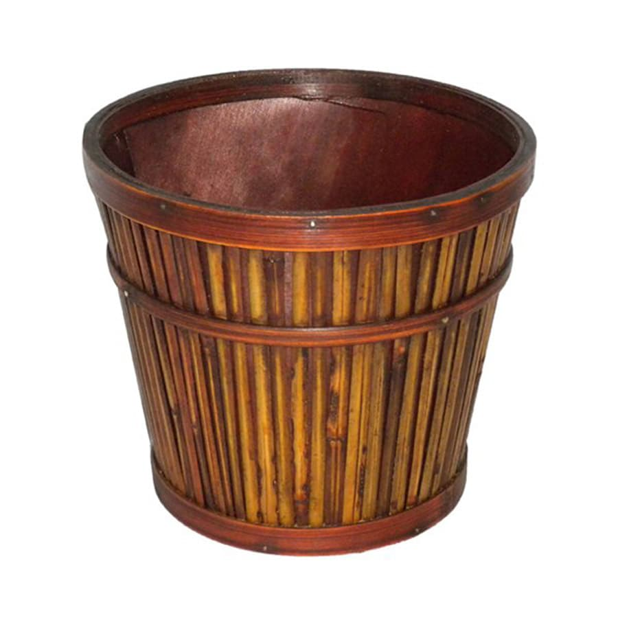 Cheung's 7-in x 6-in Brown Wood Bamboo Planter