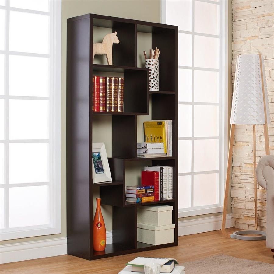 Enitial Lab Kamille Walnut 35-in W x 71-in H x 12-in D 8-Shelf Bookcase