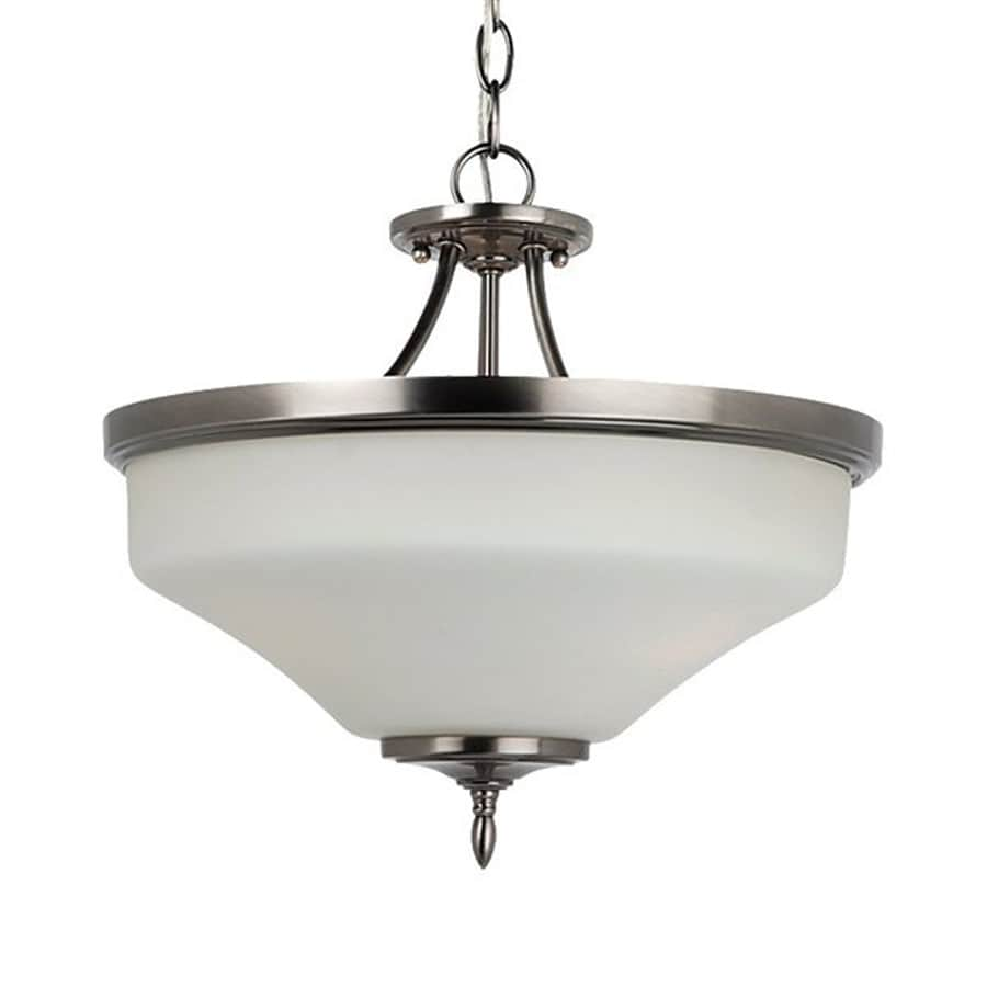 Sea Gull Lighting Montreal 15-in Antique Brushed Nickel Single Etched Glass Bowl Pendant