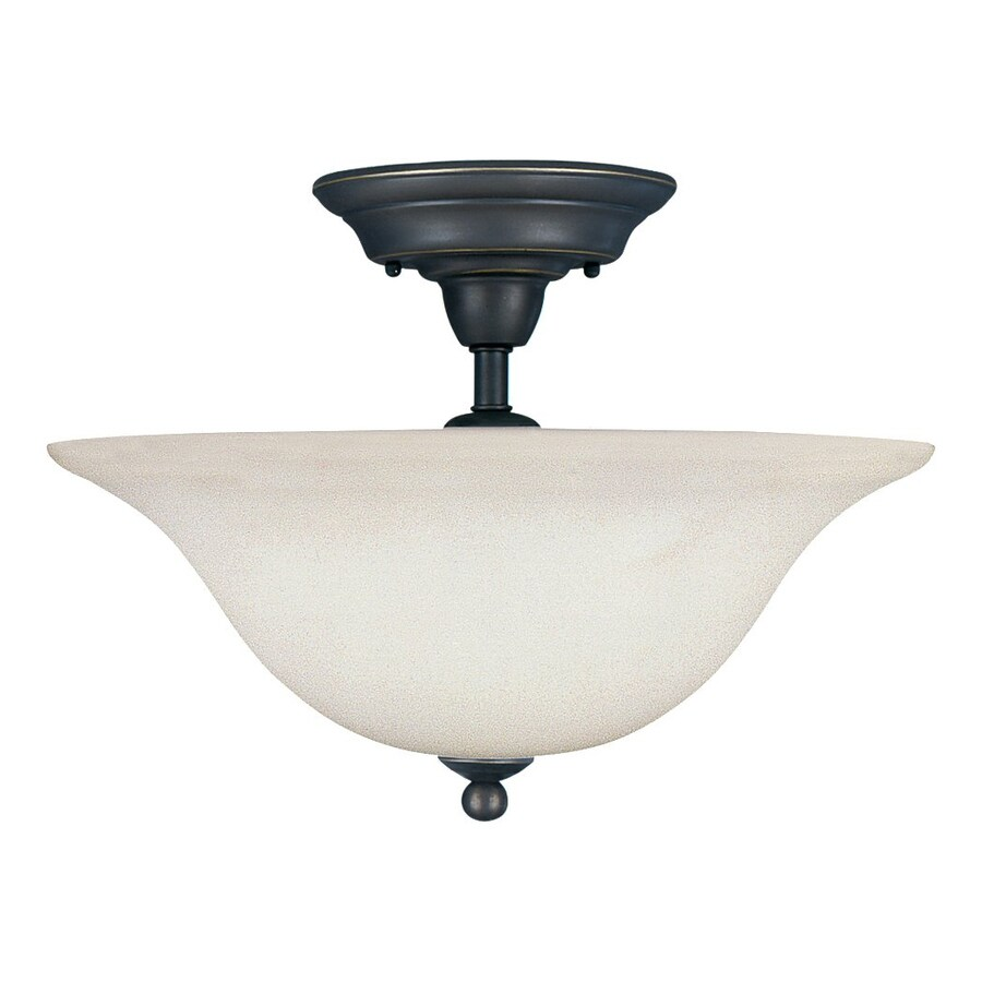 Sea Gull Lighting Sussex 15.75-in W Heirloom Bronze Etched Glass Semi-Flush Mount Light