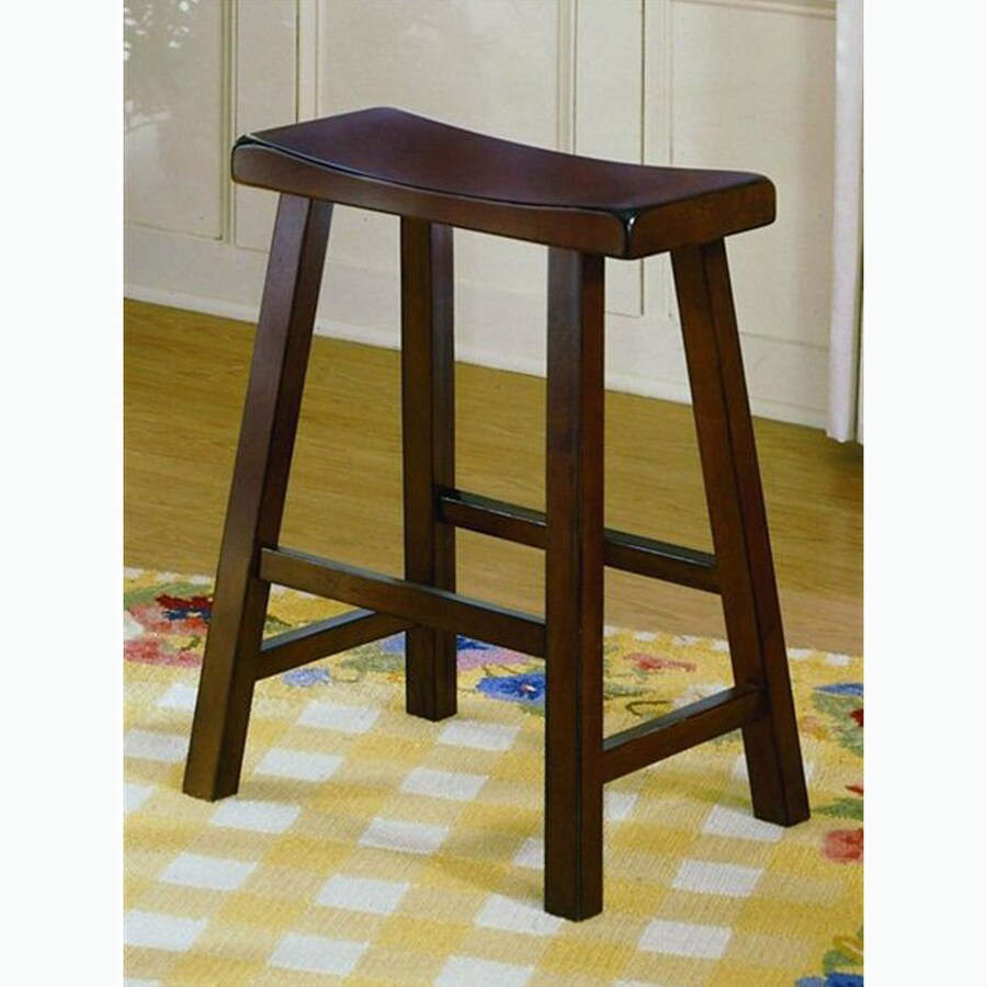 Homelegance Set of 2 Saddleback Warm Cherry 24-in Counter Stools