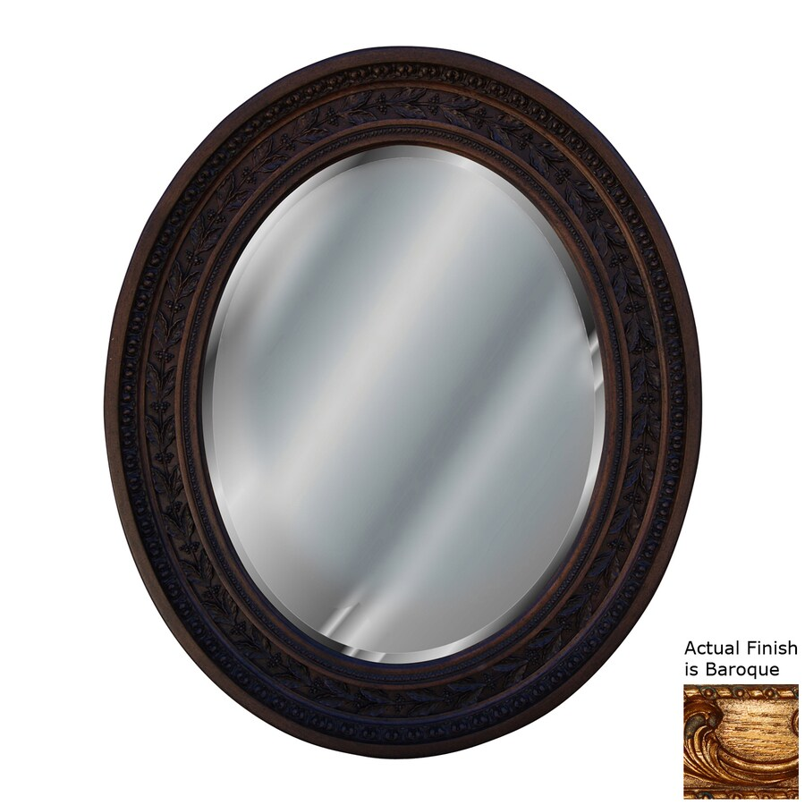 Hickory Manor House Antique Leaf 24-in x 29-in Baroque Beveled Oval Framed Wall Mirror