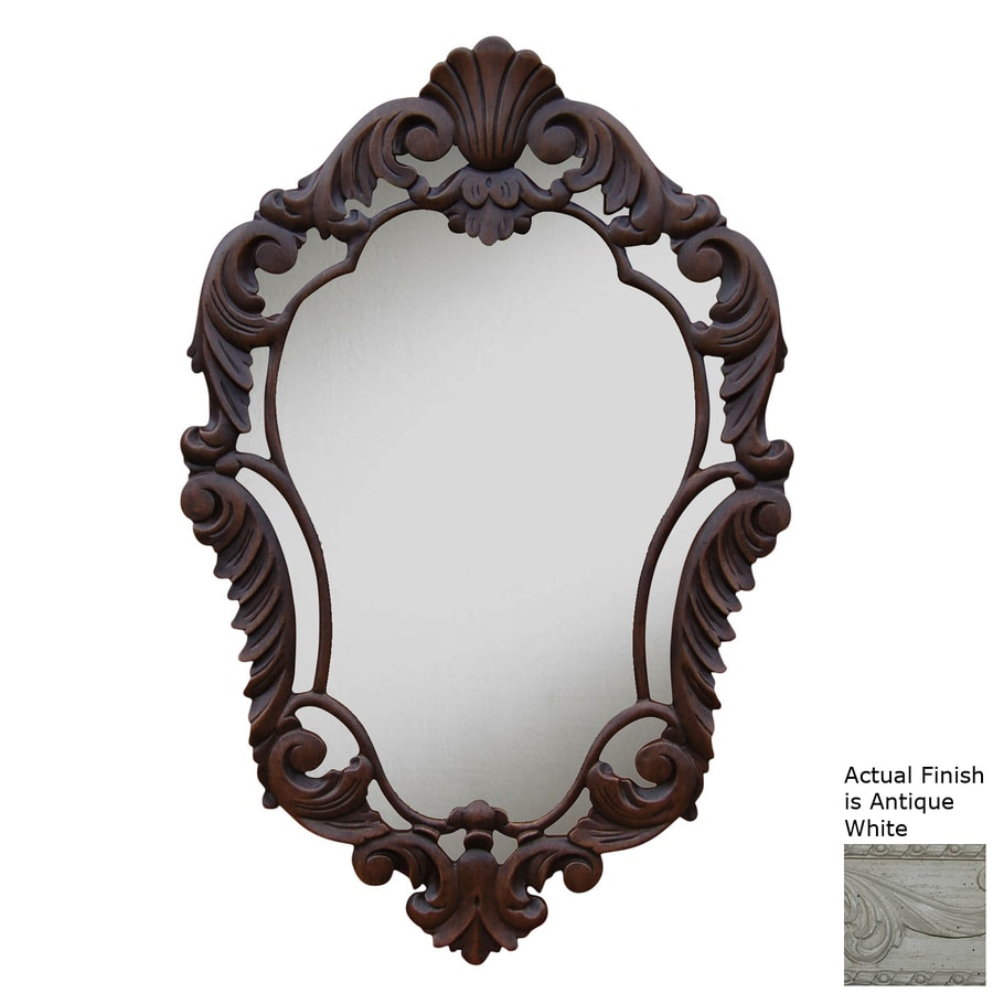 Hickory Manor House Curved 22-in x 33.5-in Antique White Polished Diamond Framed French Wall Mirror