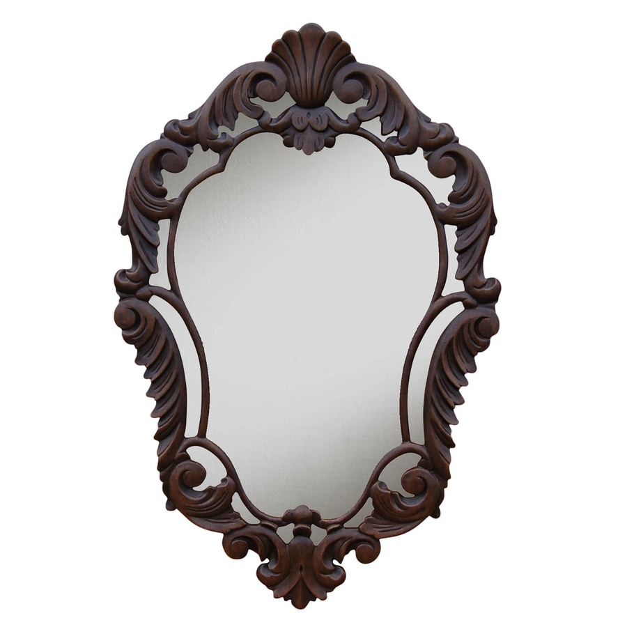 Hickory Manor House Curved 22-in x 33.5-in Walnut Polished Diamond Framed French Wall Mirror