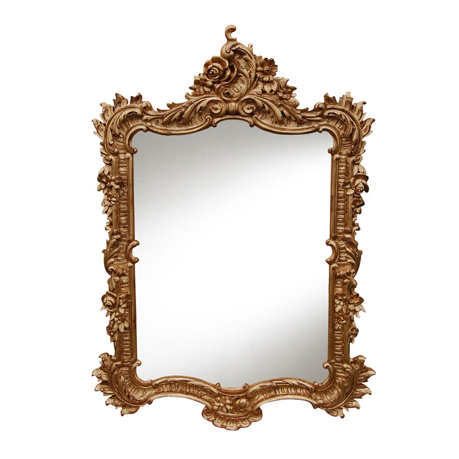 Hickory Manor House Ornate English 27-in x 38-in Gold Leaf Polished Rectangle Framed Wall Mirror