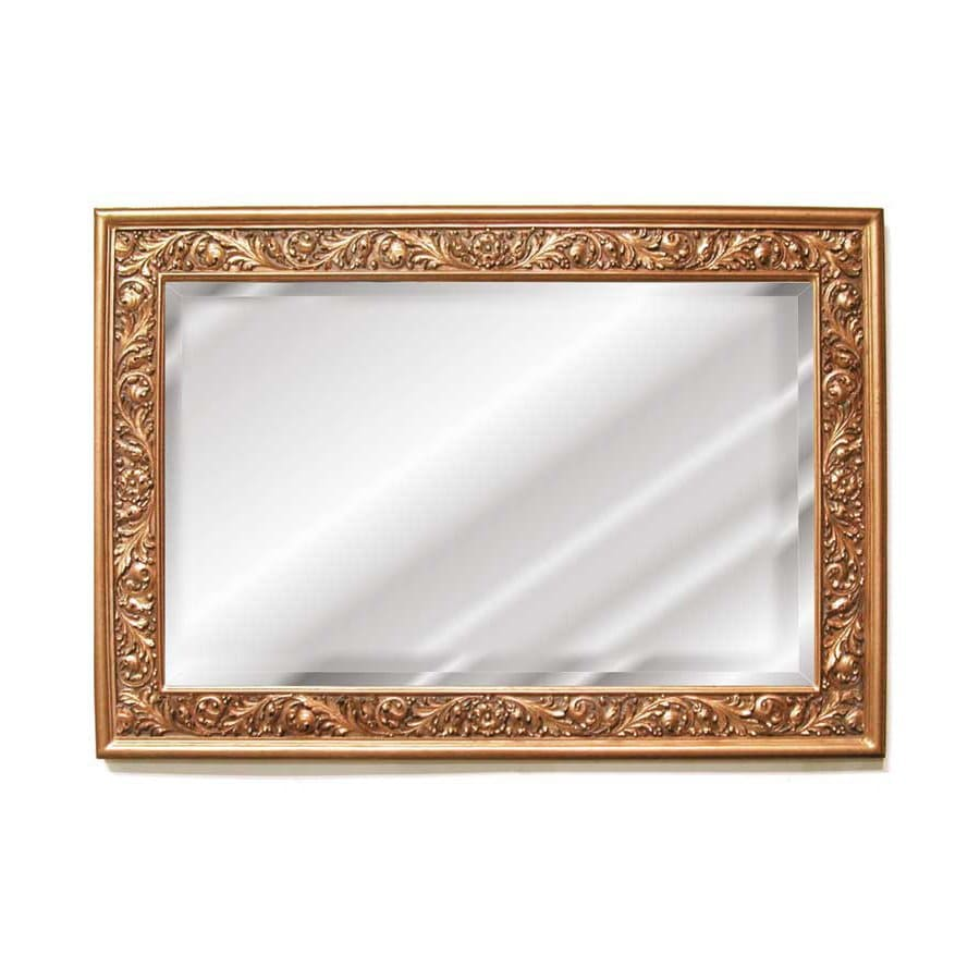 Hickory Manor House Grape Leaf 50.25-in x 35-in Gold Leaf Beveled Rectangle Framed Wall Mirror