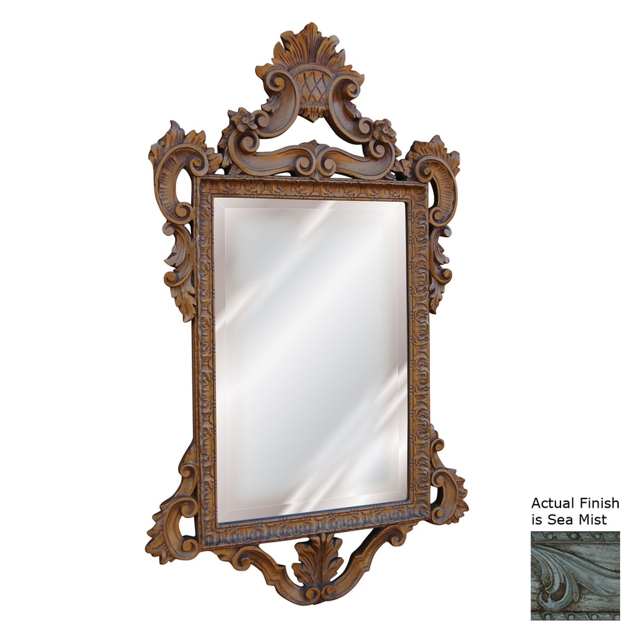 Hickory Manor House Templar 23-in x 39-in Sea Mist Beveled Rectangle Framed Wall Mirror