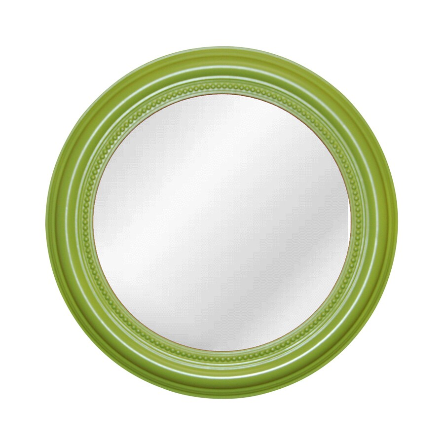 Hickory Manor House Beaded 20-in x 20-in Luau Green Polished Round Framed Wall Mirror