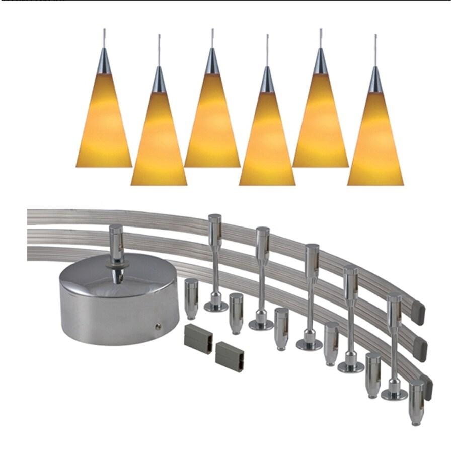 JESCO 6-Light 144-in Satin Nickel Flexible Track Light with Amber Glass