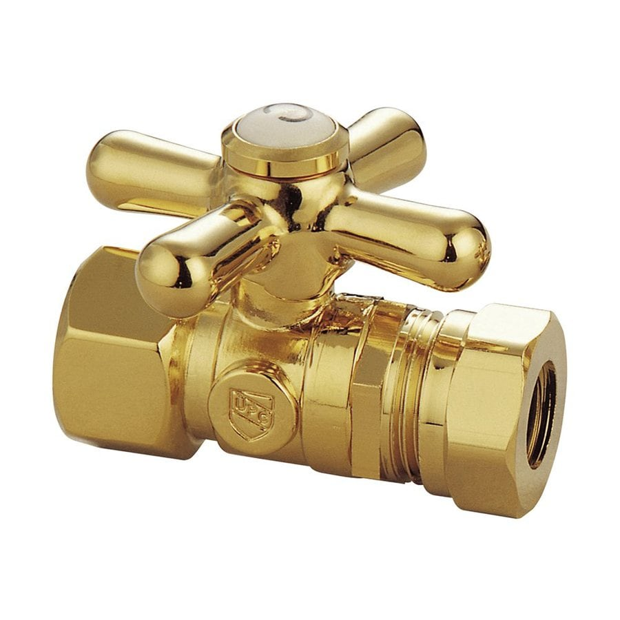 Elements of Design Polished Brass Quarter Turn Straight Valve