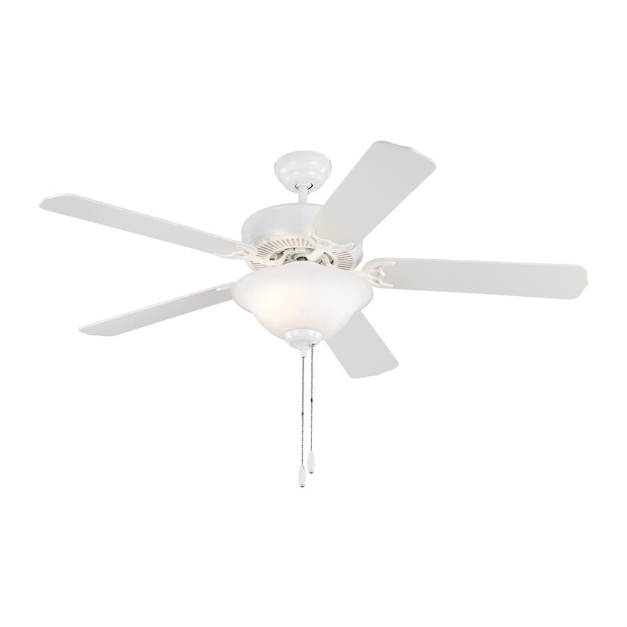 Sea Gull Lighting Quality Max Plus 52-in White Downrod or Close Mount Indoor Ceiling Fan with Light Kit (5-Blade) ENERGY STAR