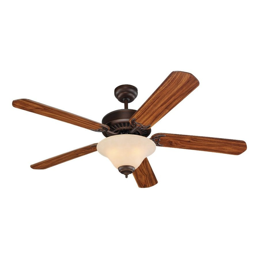 Sea Gull Lighting Quality Pro Deluxe 52-in Roman Bronze Downrod or Close Mount Indoor Ceiling Fan with Light Kit (5-Blade)