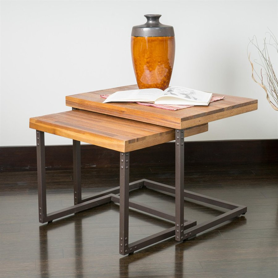 Best Selling Home Decor Braden Rustic Iron/Sandblasted Wood Acacia Accent Table Set
