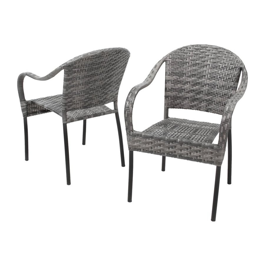Best Ing Home Decor Sunset 2 Count Grey Plastic Stackable Patio Dining Chairs