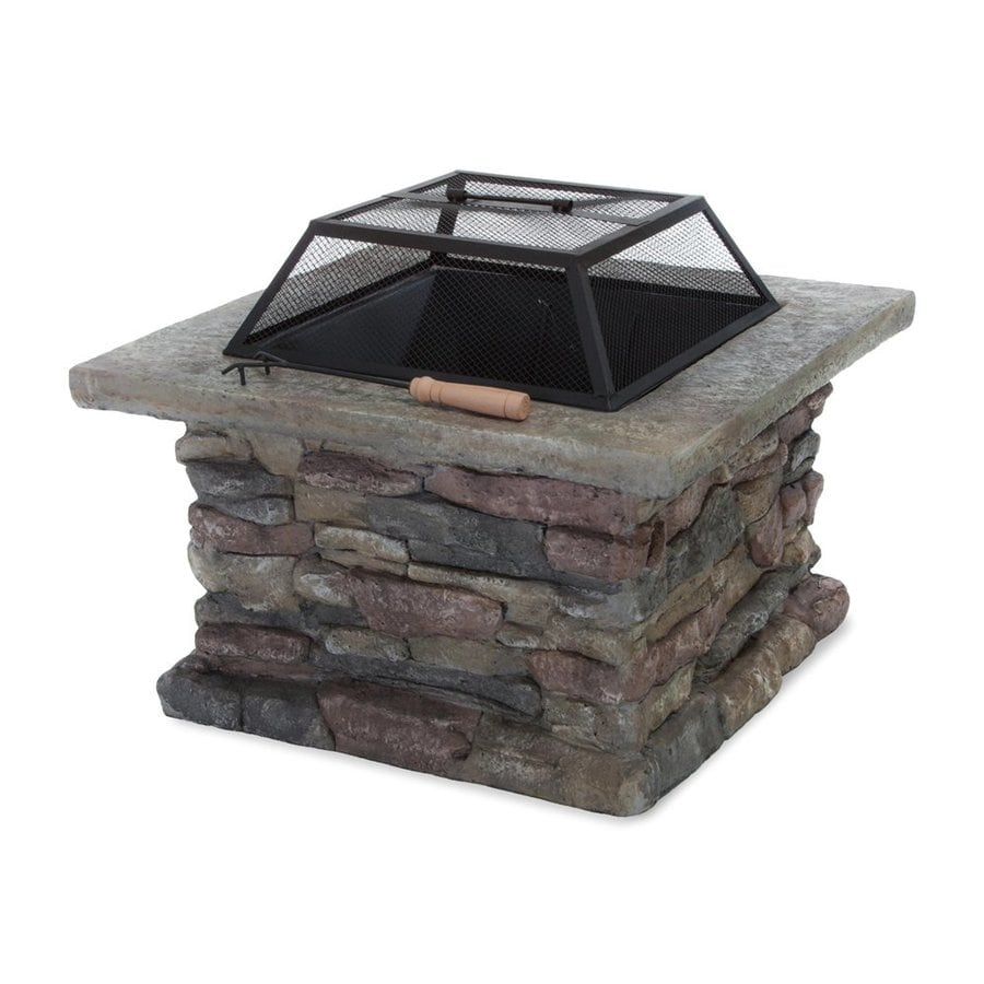 Best Selling Home Decor 29-in W Natural Stone Iron Wood-Burning Fire Pit