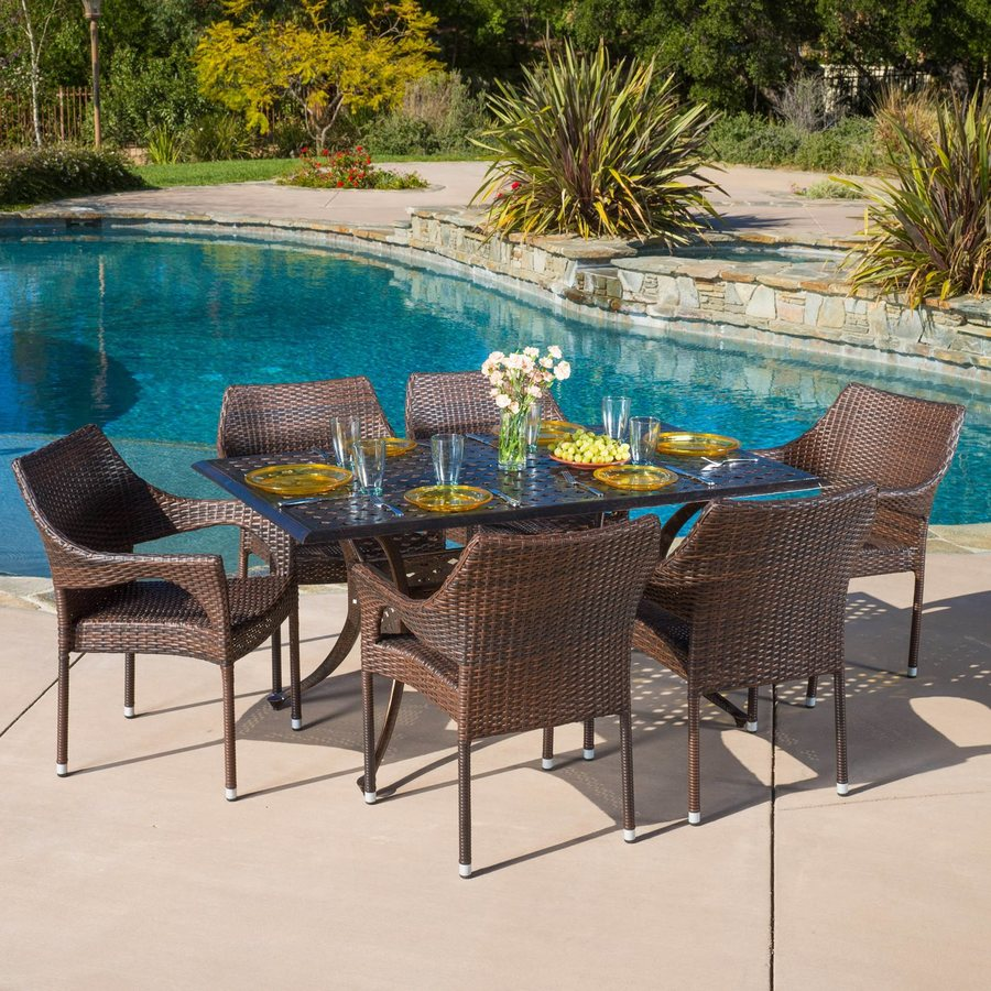 Best Selling Home Decor Cliff 7-Piece Bronze/Mixed Brown Aluminum Patio Dining Set