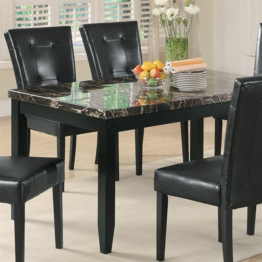 shop coaster fine furniture anisa black black marble rectangular dining table at. Black Bedroom Furniture Sets. Home Design Ideas