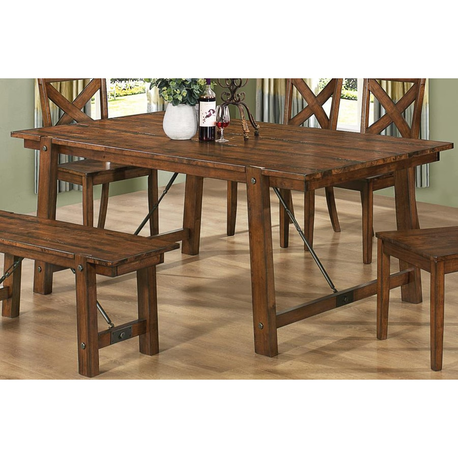 Shop Coaster Fine Furniture Lawson Rustic Oak Rectangular Dining Table At Low