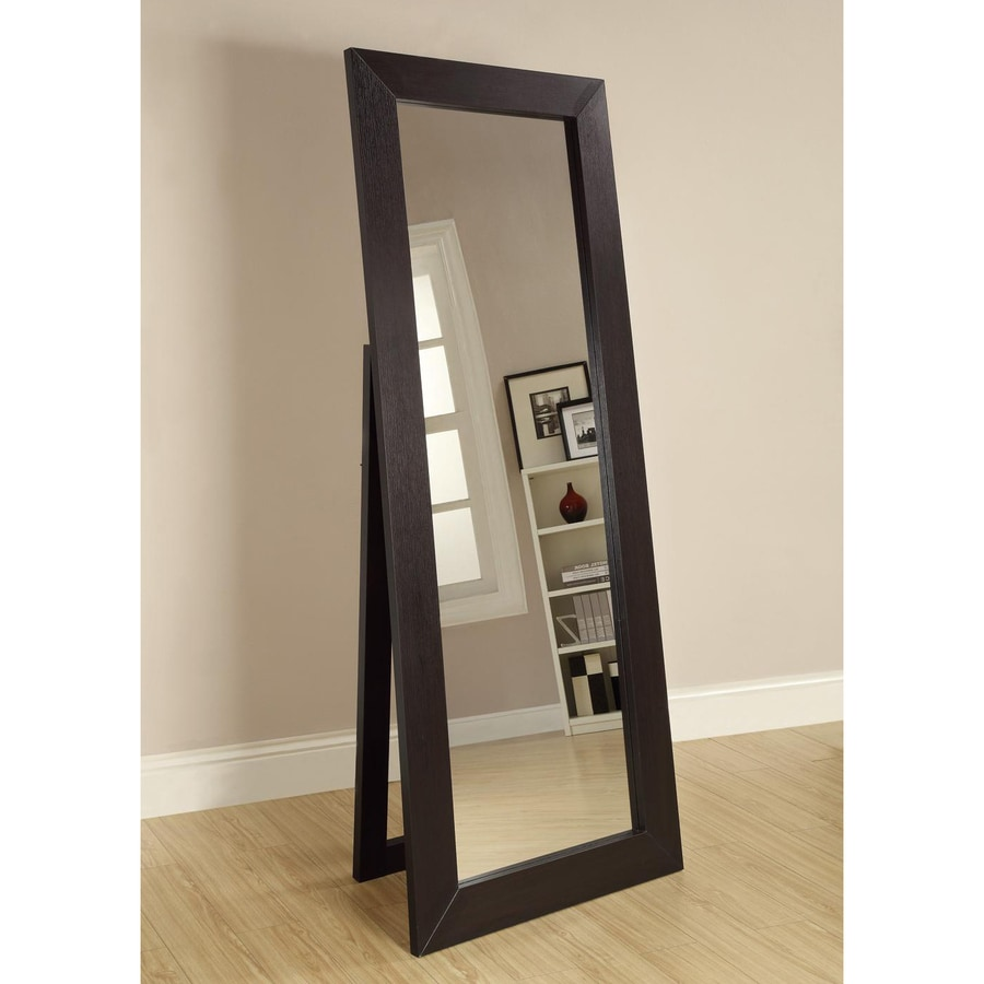 Shop coaster fine furniture 28 in x 72 in black beveled for Black framed floor mirror