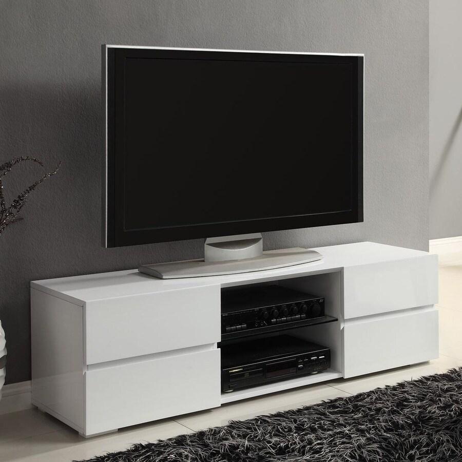 Coaster Fine Furniture High Gloss White Rectangular Television Cabinet
