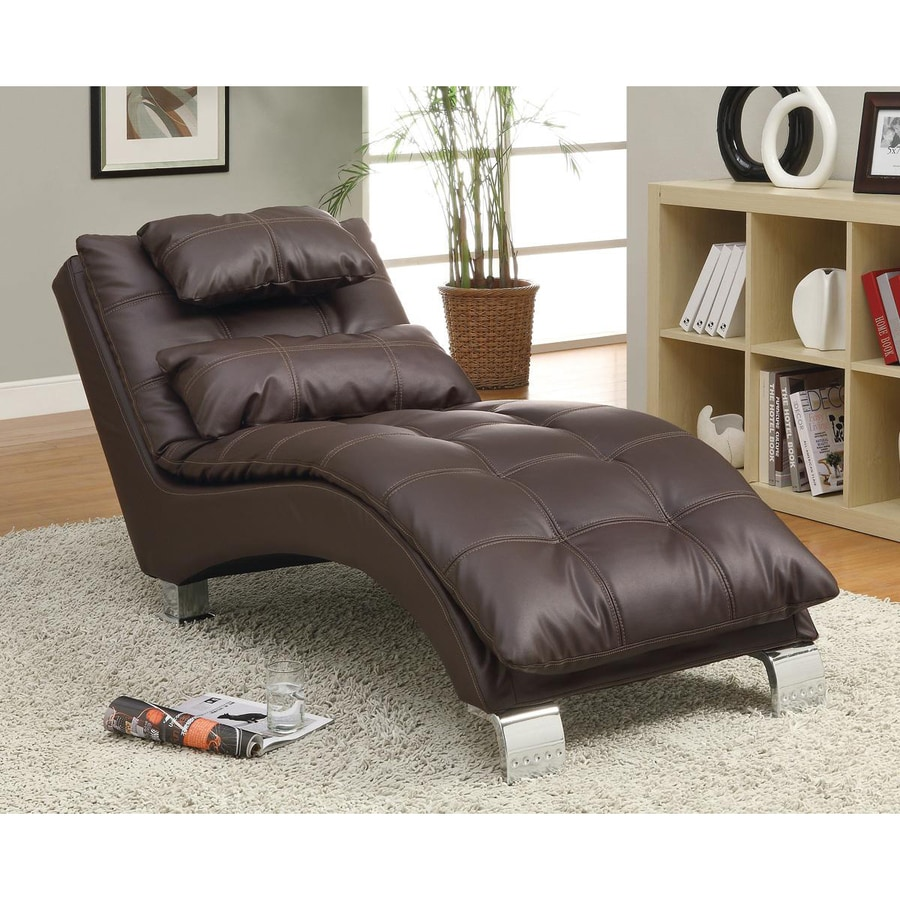 Coaster Fine Furniture Brown Chrome Vinyl Chaise