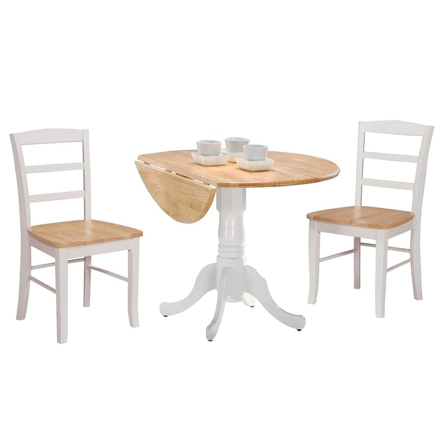 International Concepts Natural/White Dining Set with Round Dining Table