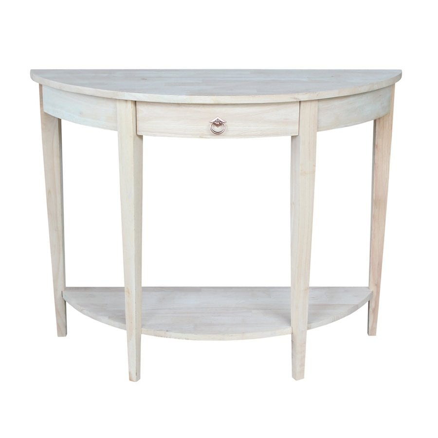 International Concepts Unfinished Rubberwood Half-Round Console and Sofa Table