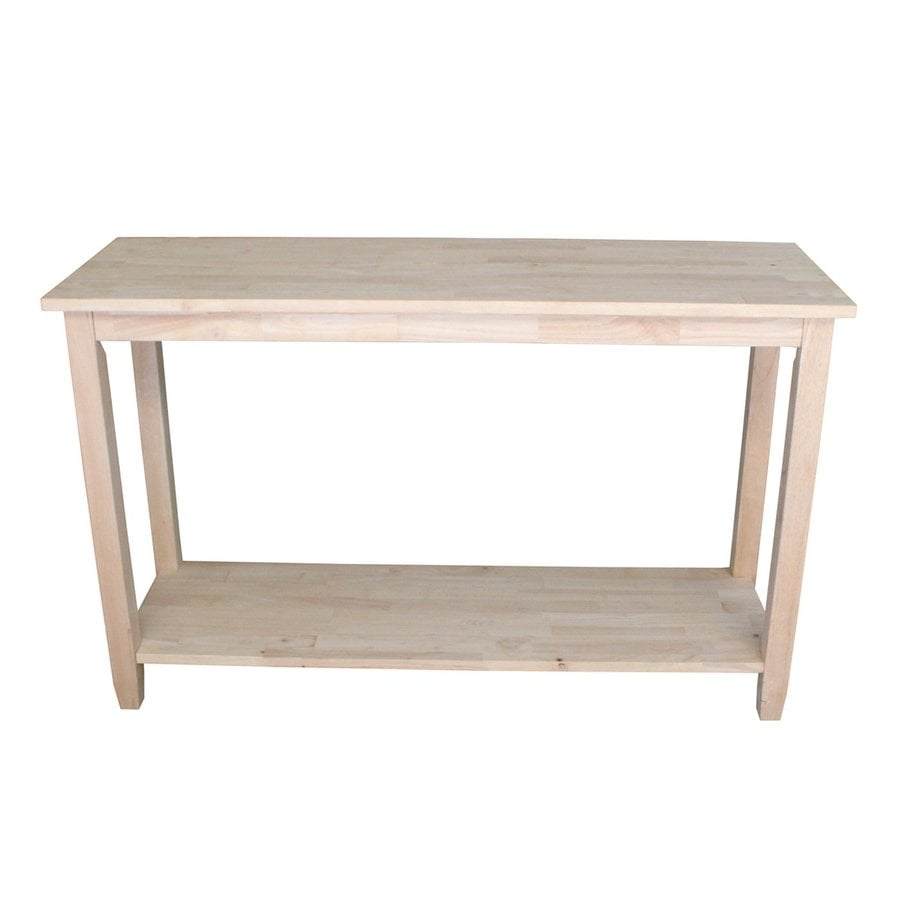 International Concepts Solano Unfinished Rubberwood Rectangular Console and Sofa Table