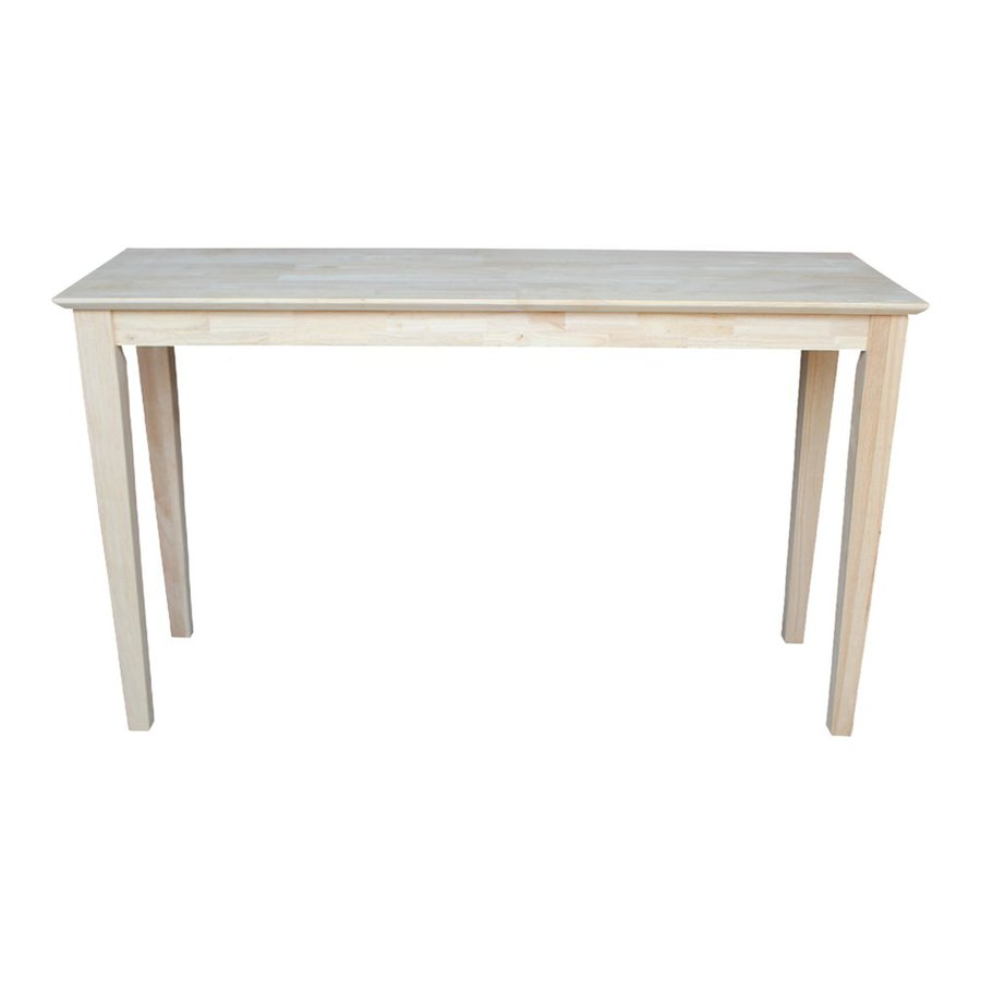 International Concepts Unfinished Rubberwood Rectangular Console and Sofa Table