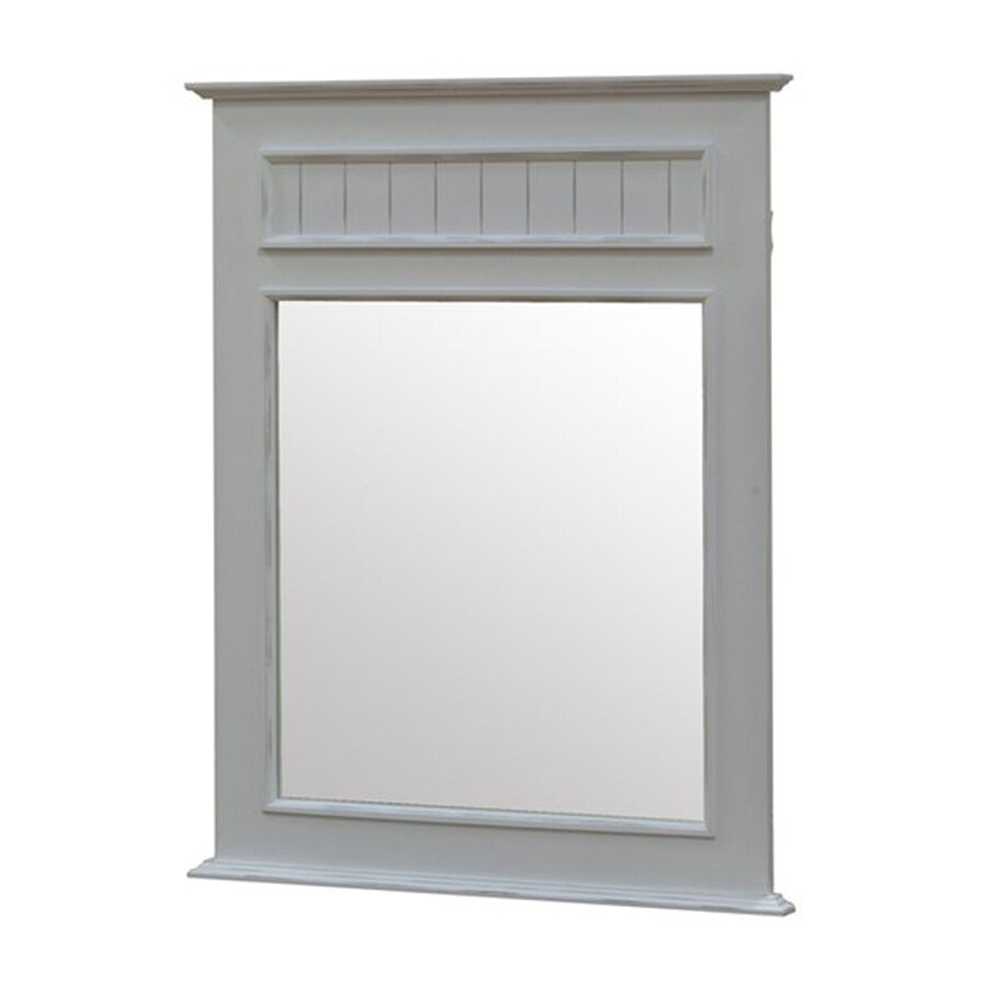John Boyd Furniture Notting Hill 38.5-in x 49.5-in Bright White Rectangle Framed Transitional Wall Mirror