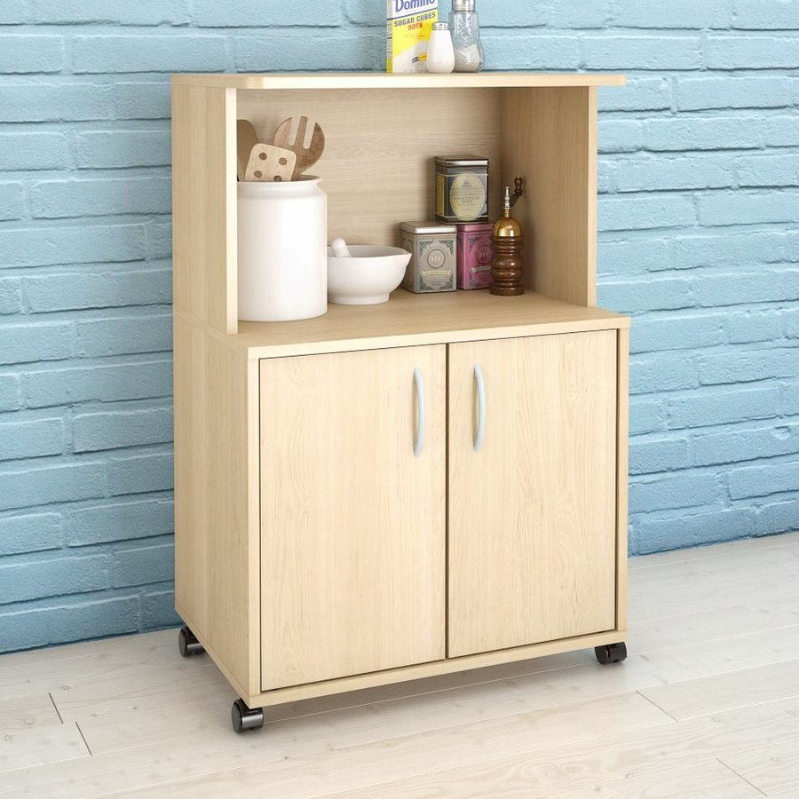 Shop Home Styles Black Scandinavian Kitchen Carts At Lowes Com: Shop Nexera Natural Maple Rectangular Kitchen Cart At