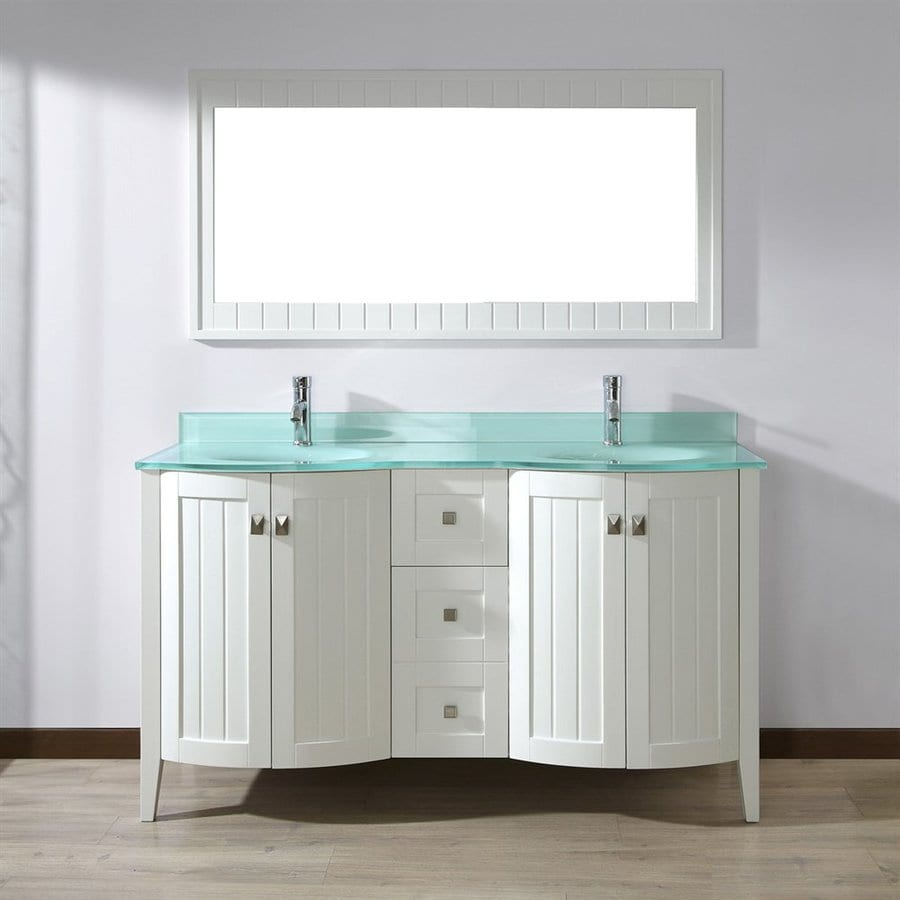 Spa Bathe Beaumont White Undermount Double Sink Bathroom Vanity with Glass Top (Mirror Included) (Common: 60-in x 22-in; Actual: 60-in x 22-in)