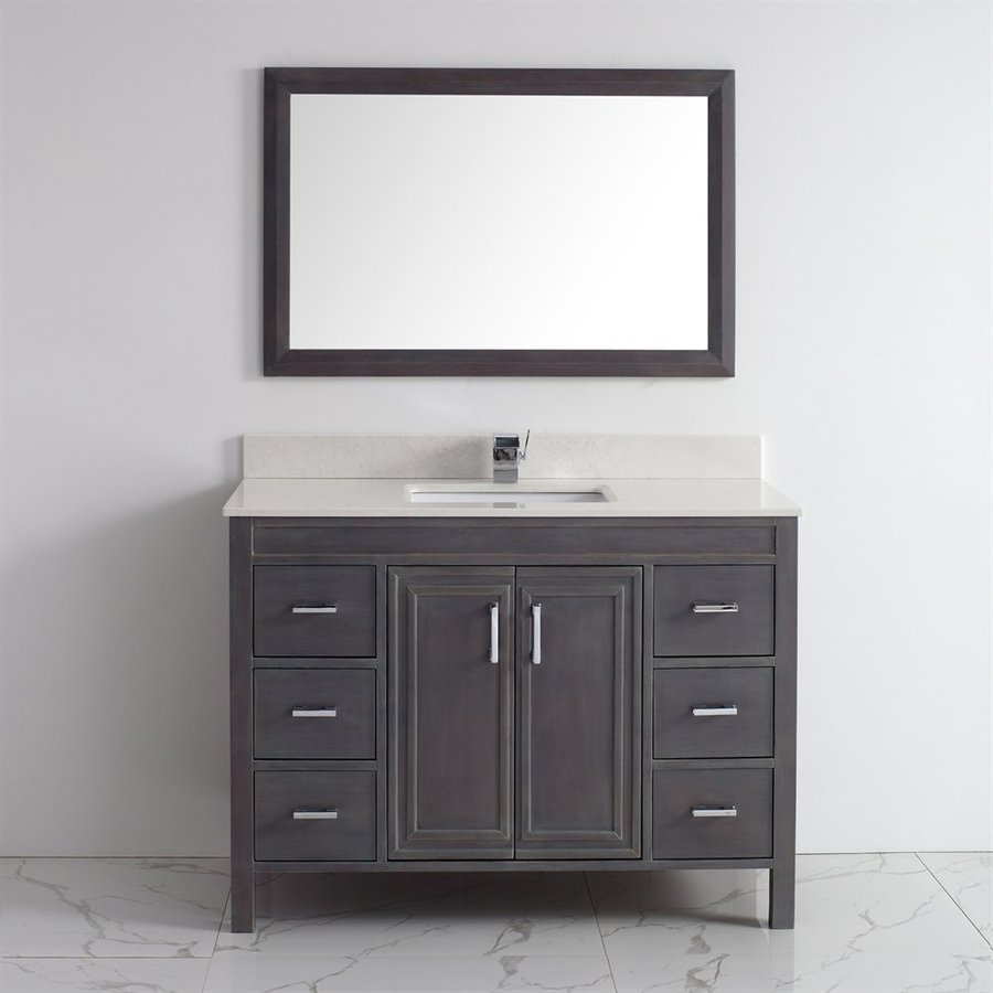 Spa Bathe Cora French Gray Undermount Single Sink Bathroom Vanity with Engineered Stone Top (Mirror Included) (Common: 48-in x 22-in; Actual: 47.75-in x 22-in)