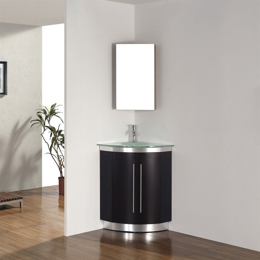 Spa Bathe Delucia Chai Integral Single Sink Bathroom Vanity with Glass Top (Mirror Included) (Common: 24-in x 24-in; Actual: 24-in x 24-in)