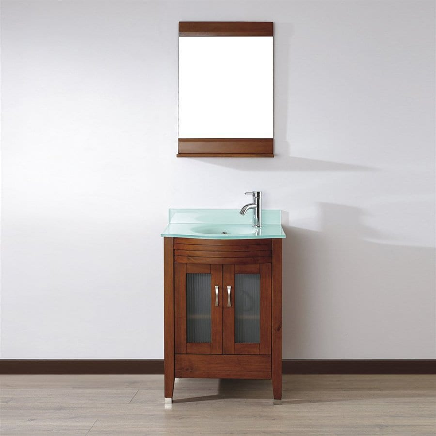 Spa Bathe Elva Classic Cherry Integral Single Sink Bathroom Vanity with Glass Top (Mirror Included) (Common: 24-in x 19-in; Actual: 24-in x 19-in)