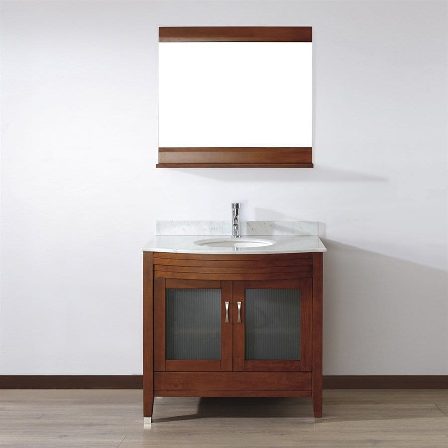 Spa Bathe Elva Classic Cherry Undermount Single Sink Bathroom Vanity with Natural Marble Top (Mirror Included) (Common: 36-in x 22-in; Actual: 36-in x 22-in)