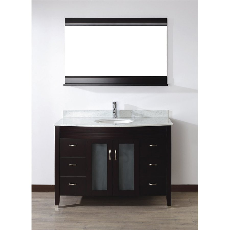 Spa Bathe Elva Chai Undermount Single Sink Bathroom Vanity with Natural Marble Top (Mirror Included) (Common: 48-in x 22-in; Actual: 48-in x 22-in)