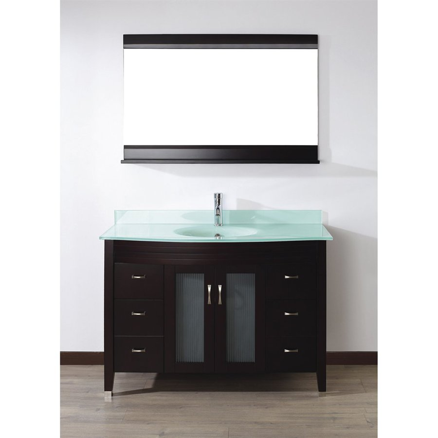 Spa Bathe Elva Chai Integral Single Sink Bathroom Vanity with Glass Top (Mirror Included) (Common: 48-in x 22-in; Actual: 48-in x 22-in)