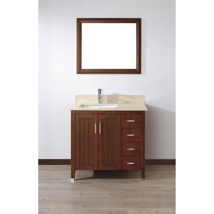 Spa Bathe Jaq Classic Cherry Undermount Single Sink Bathroom Vanity with Natural Marble Top (Mirror Included) (Common: 36-in x 22-in; Actual: 36-in x 22-in)