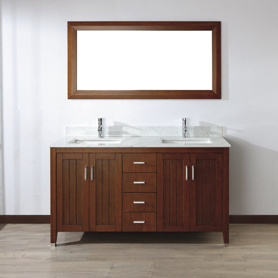 Spa Bathe Jaq Classic Cherry Undermount Double Sink Bathroom Vanity with Natural Marble Top (Mirror Included) (Common: 60-in x 22-in; Actual: 60-in x 22-in)