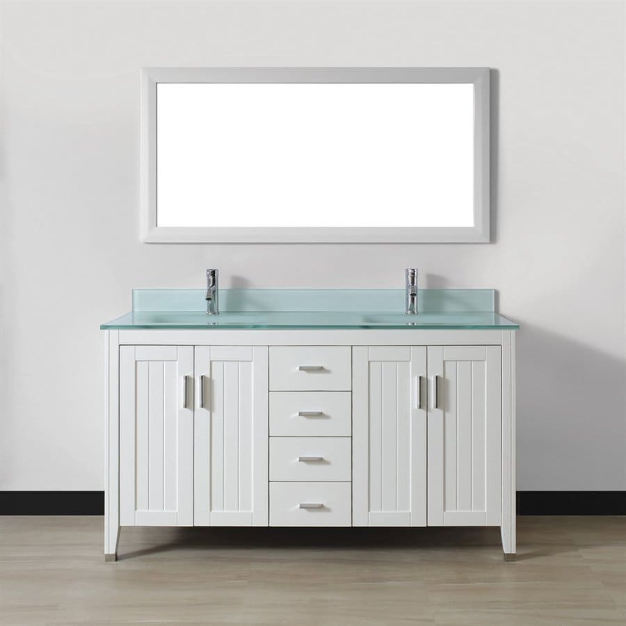 Spa Bathe Jaq White Integral Double Sink Bathroom Vanity with Glass Top (Mirror Included) (Common: 60-in x 22-in; Actual: 60-in x 22-in)