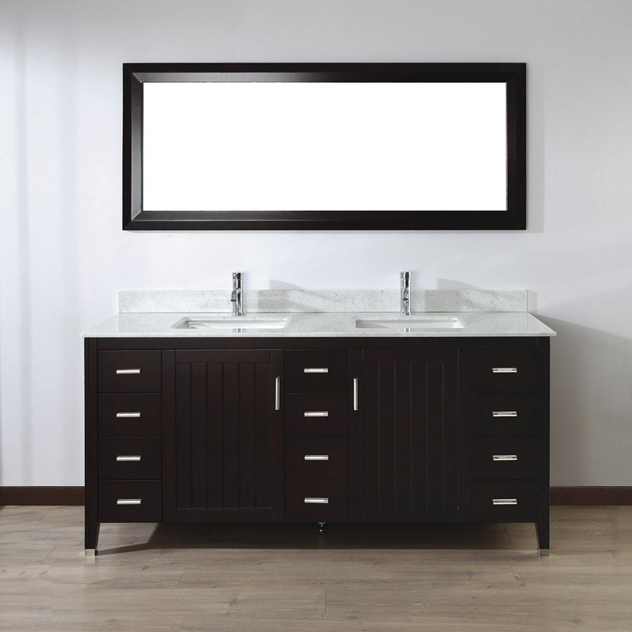Spa Bathe Jaq Chai Undermount Double Sink Bathroom Vanity with Natural Marble Top (Mirror Included) (Common: 72-in x 22-in; Actual: 72-in x 22-in)