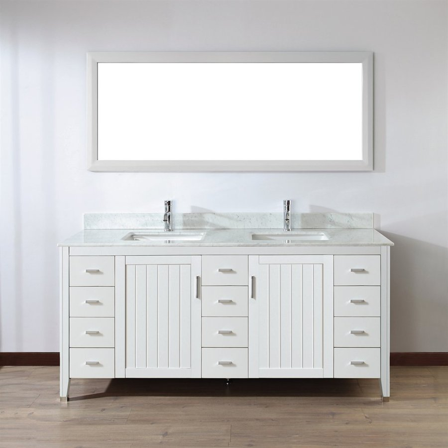 Spa Bathe Jaq White Undermount Double Sink Bathroom Vanity with Natural Marble Top (Mirror Included) (Common: 72-in x 22-in; Actual: 72-in x 22-in)