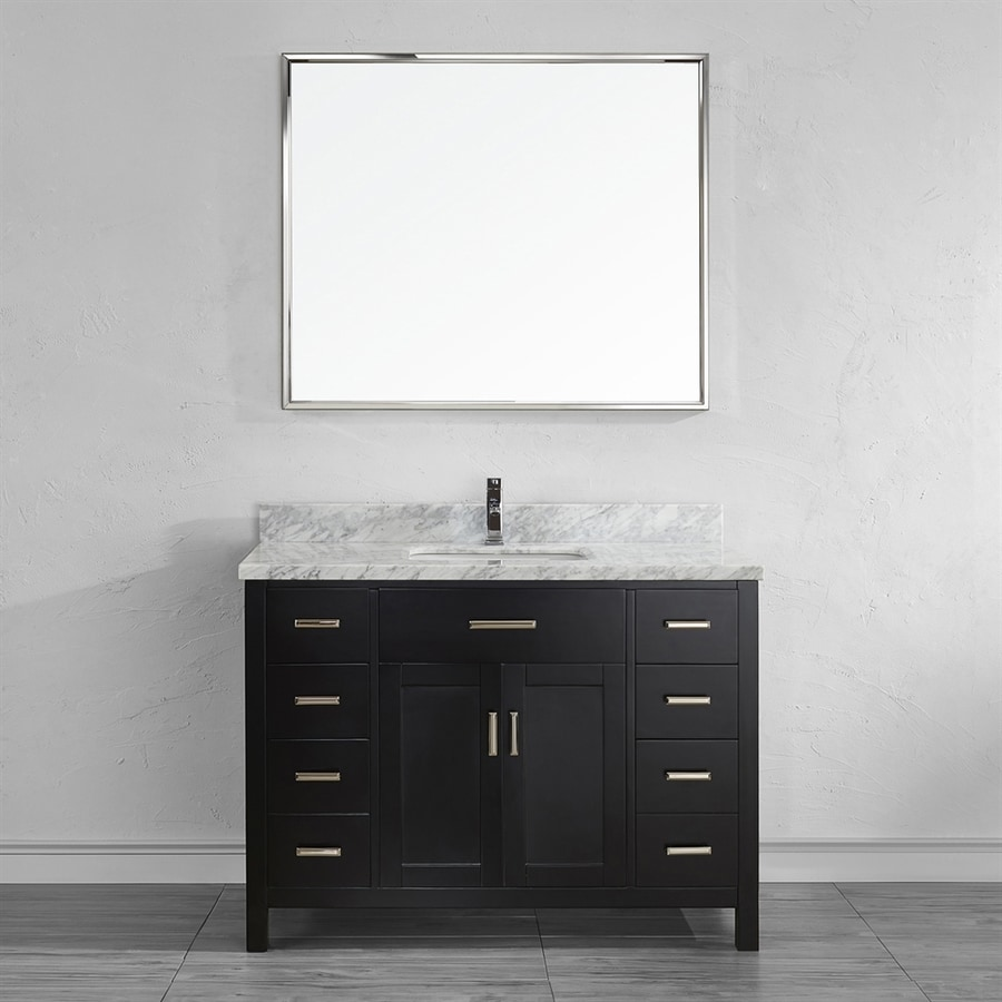 Spa Bathe Kenzie Espresso Undermount Single Sink Bathroom Vanity with Natural Marble Top (Mirror Included) (Common: 48-in x 22-in; Actual: 48-in x 22-in)