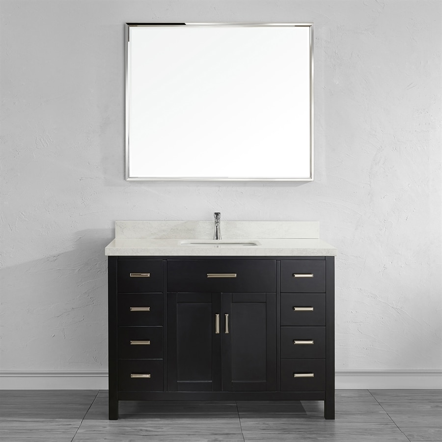 Spa Bathe Kenzie Espresso Undermount Single Sink Bathroom Vanity with Engineered Stone Top (Mirror Included) (Common: 48-in x 22-in; Actual: 48-in x 22-in)