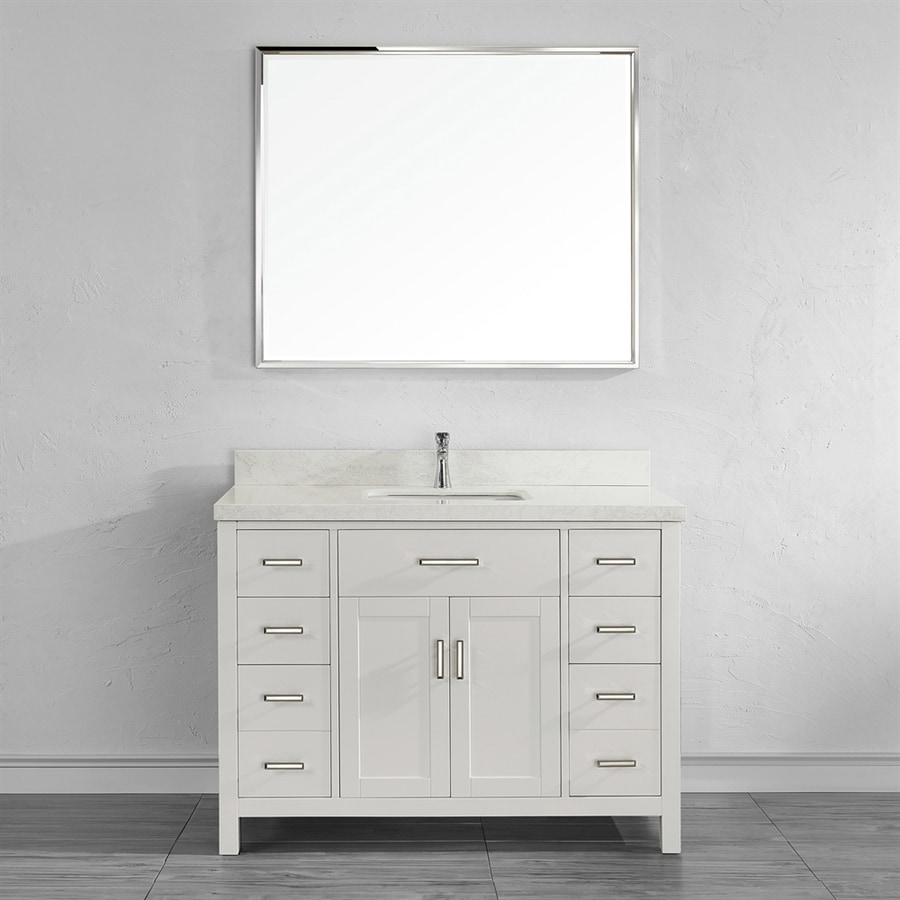 Spa Bathe Kenzie White Undermount Single Sink Bathroom Vanity with Engineered Stone Top (Mirror Included) (Common: 48-in x 22-in; Actual: 48-in x 22-in)