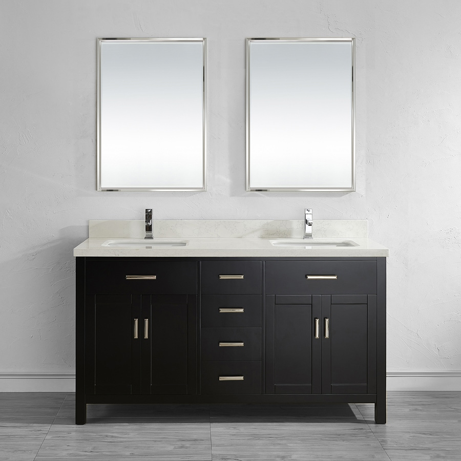 Spa Bathe Kenzie Espresso Undermount Double Sink Bathroom Vanity with Engineered Stone Top (Mirror Included) (Common: 63-in x 22-in; Actual: 63-in x 22-in)