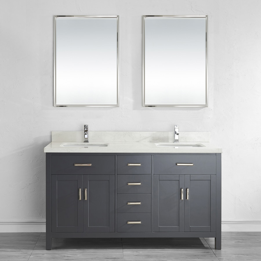 Spa Bathe Kenzie French Gray Undermount Double Sink Bathroom Vanity with Engineered Stone Top (Mirror Included) (Common: 63-in x 22-in; Actual: 63-in x 22-in)